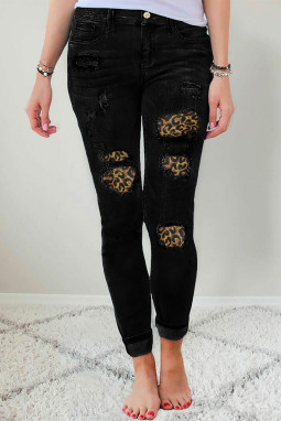 时尚豹纹补丁扣袋高腰黑色修身牛仔裤