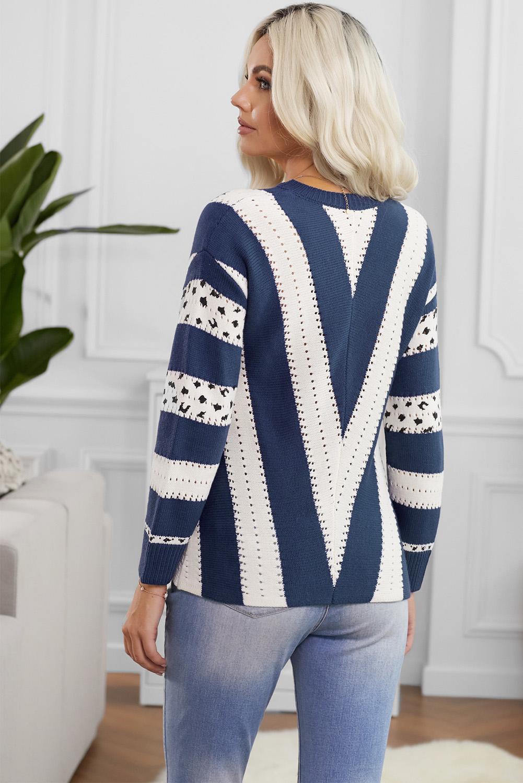 蓝色动物斑纹印花长袖V领舒适套头毛衣 LC272852