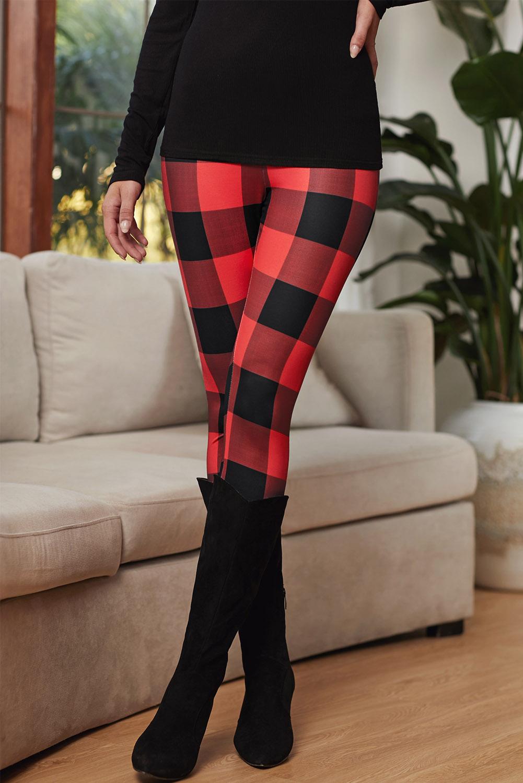 红色格子修身打底裤 LC76144