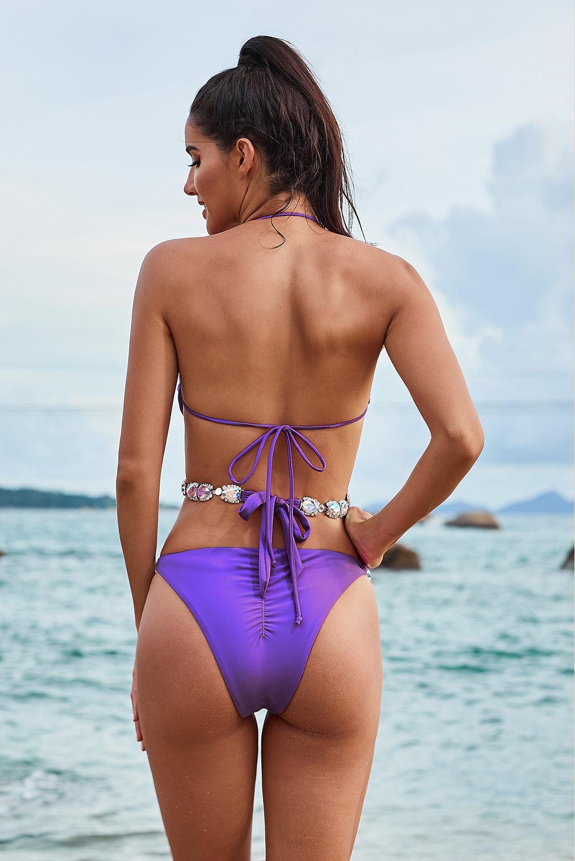 紫色挂脖亮片拼接水钻交叉包裹式比基尼套装 LC412246