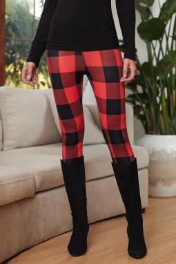 红色格子修身打底裤