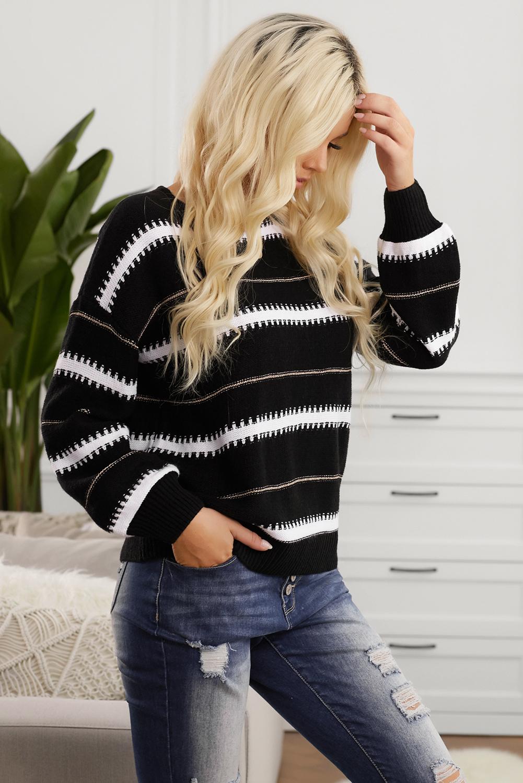 黑色宽松休闲条纹长袖套头毛衣 LC272108