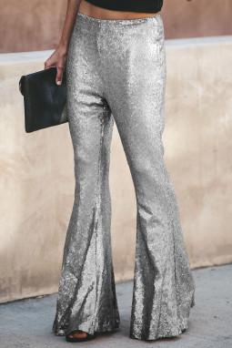 银色时尚复古高腰亮片喇叭裤
