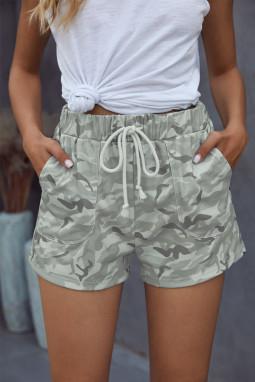 灰色迷彩抽绳休闲短裤