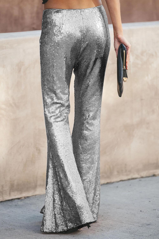 银色时尚复古高腰亮片喇叭裤 LC77205
