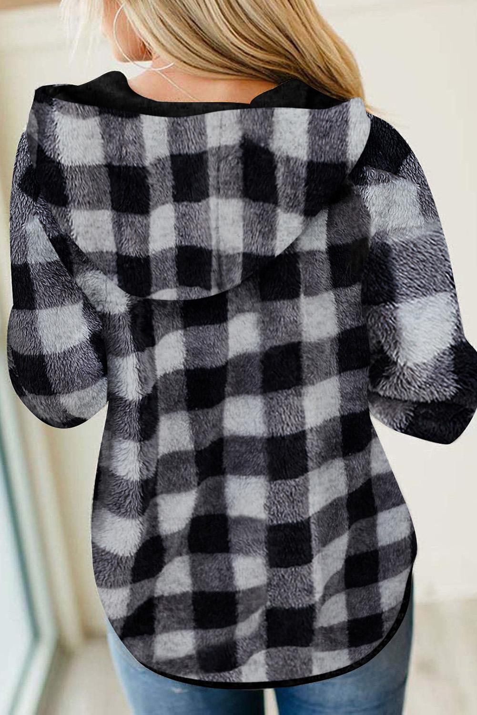 黑白格纹迷彩纽扣半开襟抽绳毛绒套头连帽衫 LC2534105