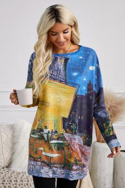 休闲油画艺术印花侧袋长袖宽松上衣
