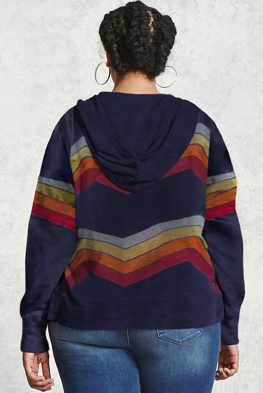 蓝色流行拼色条纹抽绳大码长袖套头连帽衫 LC253683
