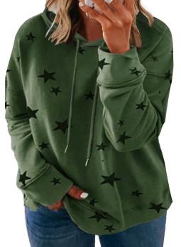 绿色休闲星星印花抽绳大码长袖套头连帽衫