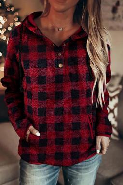 红色格纹纽扣半开襟抽绳毛绒套头连帽衫