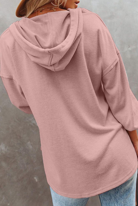 粉色长袖钮扣细节高低下摆宽松休闲抽绳连帽衫 LC2532714