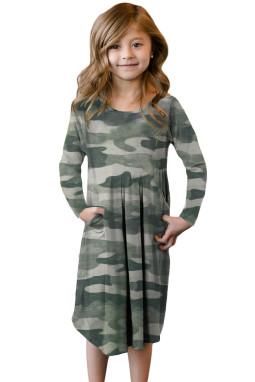 绿色迷彩印花隐藏口袋中长女童连衣裙