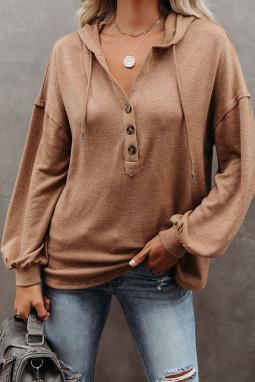 棕色长袖钮扣细节高低下摆宽松休闲抽绳连帽衫