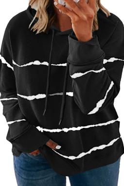 黑色流行扎染条纹抽绳大码长袖套头连帽衫