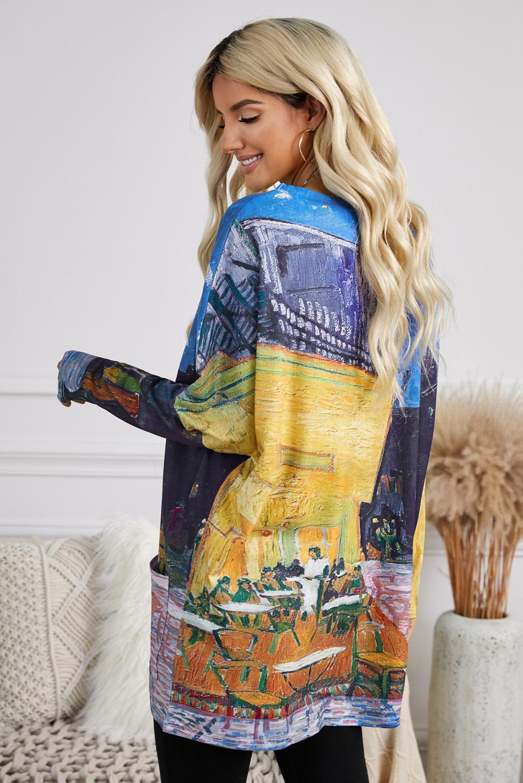 休闲油画艺术印花侧袋长袖宽松上衣 LC2531457
