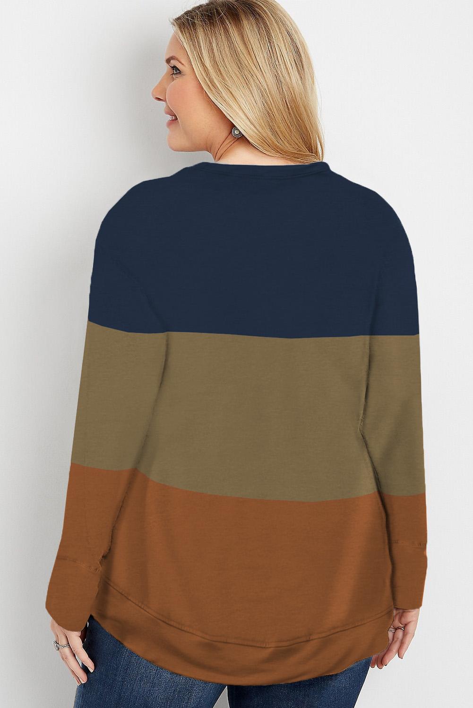 休闲圆领流行三色拼接大码长袖套头卫衣 LC253679