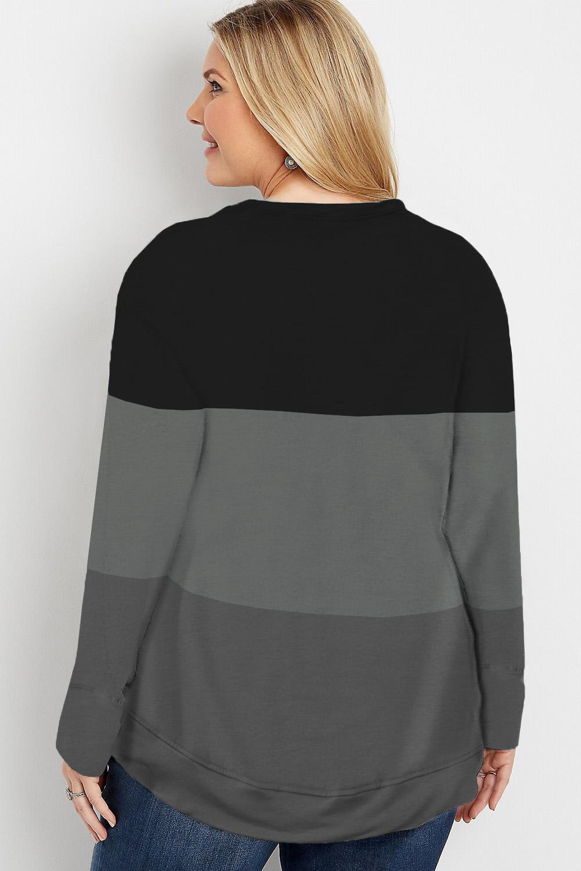 黑色圆领流行三色拼接大码长袖套头卫衣 LC253679