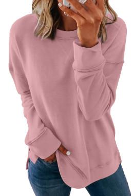 粉色圆领长袖简约休闲女士卫衣 LC2531823