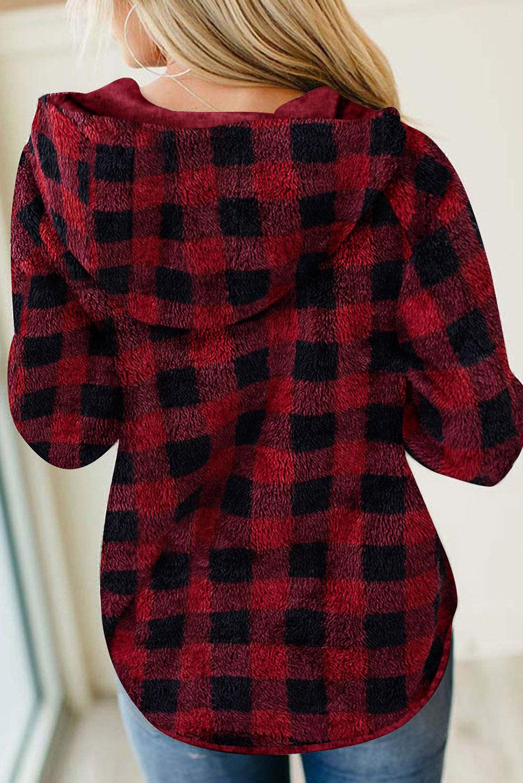 红色格纹纽扣半开襟抽绳毛绒套头连帽衫 LC2534105
