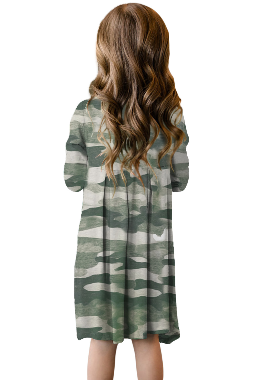 绿色迷彩印花隐藏口袋中长女童连衣裙 TZ61014