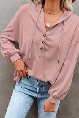 粉色长袖钮扣细节高低下摆宽松休闲抽绳连帽衫