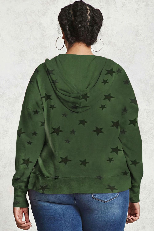 绿色休闲星星印花抽绳大码长袖套头连帽衫 LC253683