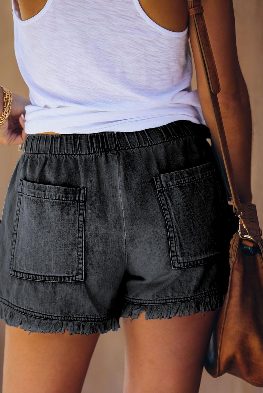 黑色休闲口袋磨边牛仔短裤 LC77959