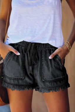 黑色休闲口袋磨边牛仔短裤