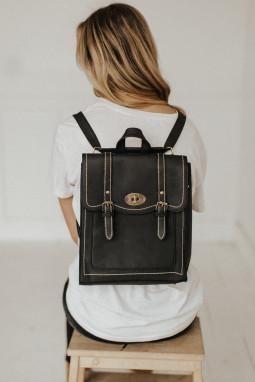 黑色皮革可转换多功能背包