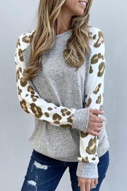 灰色圆领豹纹休闲舒适长袖上衣