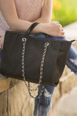 黑色轻便大容量手提包