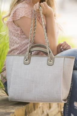 灰色轻便大容量手提包