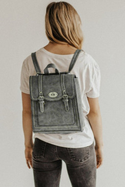 灰色皮革可转换多功能背包
