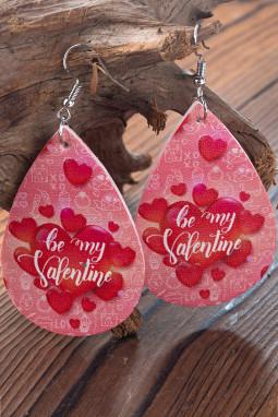 红色爱心情人节快乐耳环