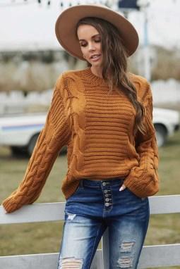 棕色圆领蝙蝠袖厚实保暖电缆针织毛衣