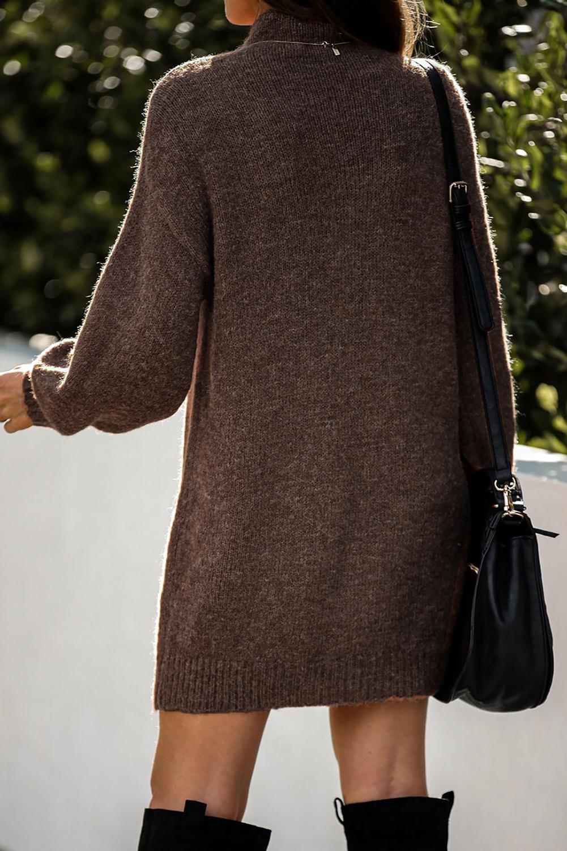 咖啡色优雅高领灯笼袖毛衣连身裙 LC273082