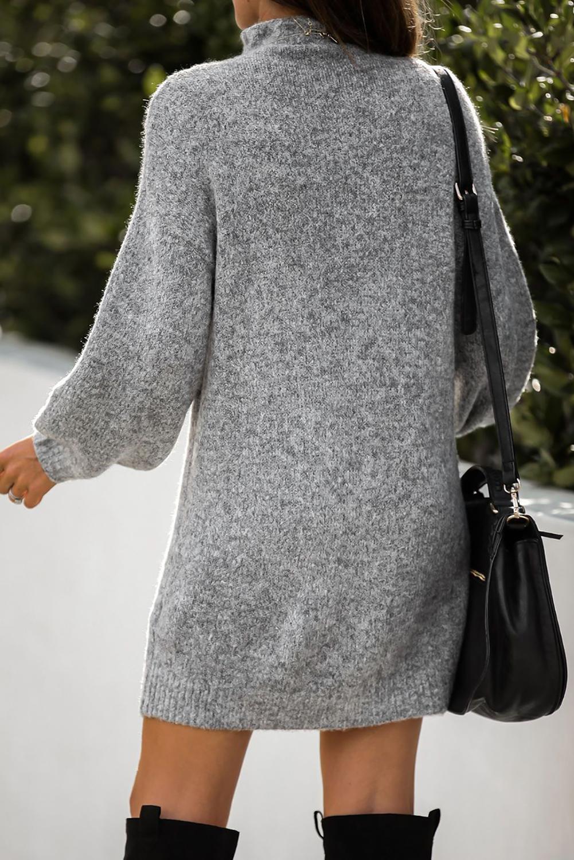 灰色优雅高领灯笼袖毛衣连身裙 LC273082