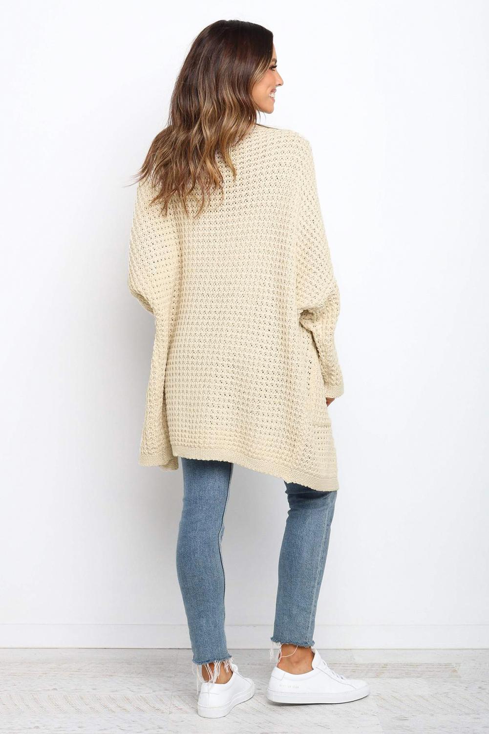 米黄色宽松中长款温暖厚实针织开襟衫 LC271188