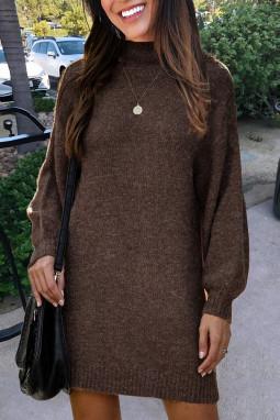 咖啡色优雅高领灯笼袖毛衣连身裙