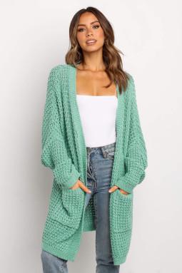 绿色宽松中长款温暖厚实针织开襟衫