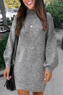 灰色优雅高领灯笼袖毛衣连身裙