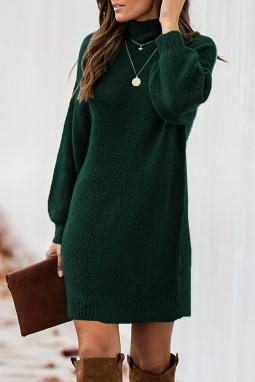 绿色优雅高领灯笼袖毛衣连身裙