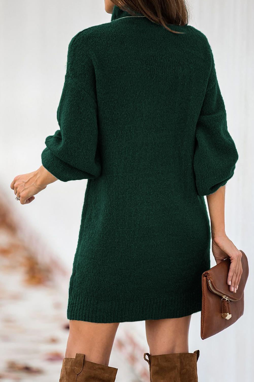 绿色优雅高领灯笼袖毛衣连身裙 LC273082