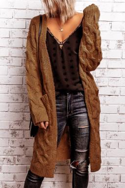 棕色冬季温暖纹理电缆针织开衫