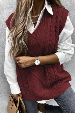 酒红色V领无袖电缆针织温暖毛衣背心