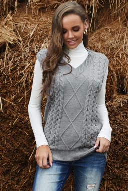 灰色V领无袖电缆针织温暖毛衣背心