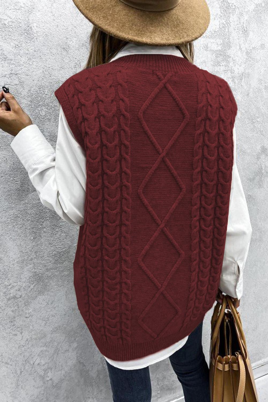 酒红色V领无袖电缆针织温暖毛衣背心 LC272967