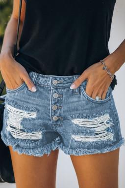 浅蓝色破洞磨损中腰仿旧牛仔短裤