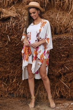 白色和服式半袖度假花卉印花优雅舒适罩衫
