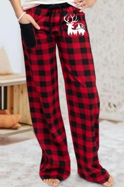 红色格子印花麋鹿图案休闲裤
